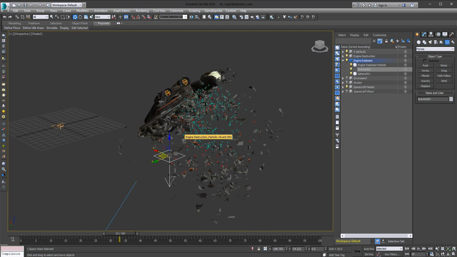 3ds Max vfx series Spacecraft Explosion