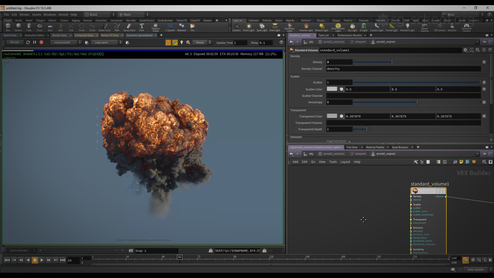 Explosion, using particles in Houdini